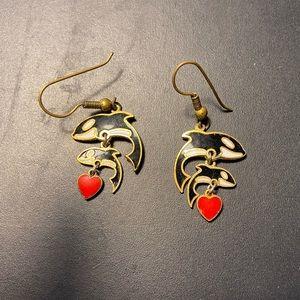 Kitsch Orca Whale Enamel Earrings ❤️🐳